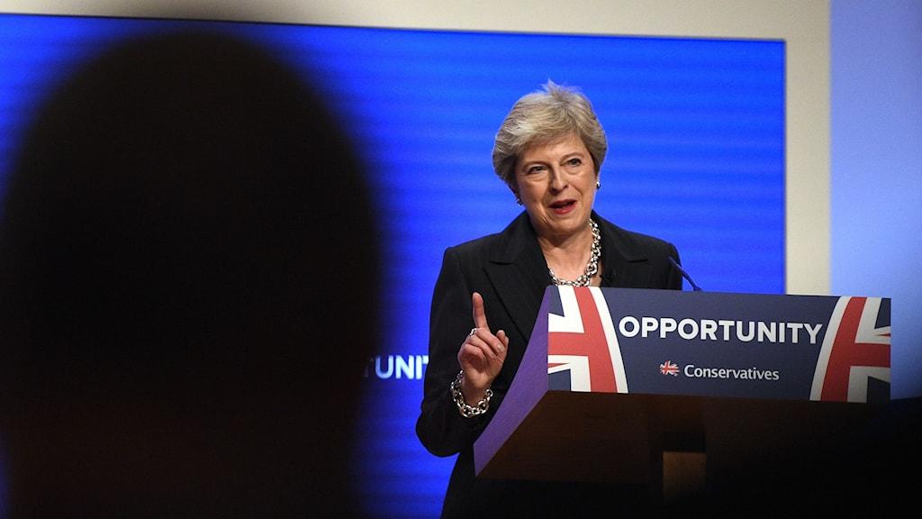 Theresa May talar för ett splittrat Tories.