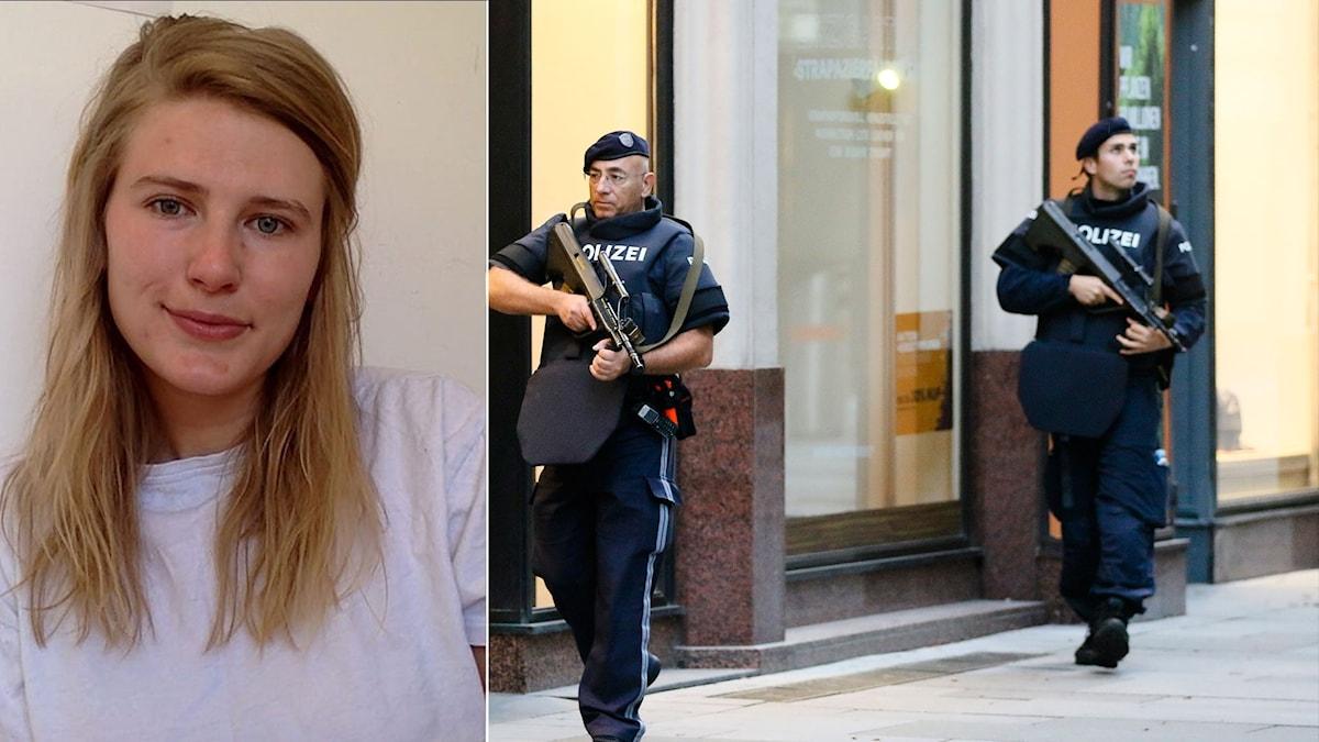 Anna Platzgummer och österrikiska poliser.