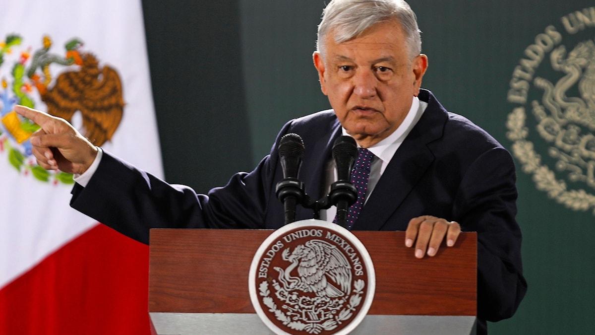 Mexikos nuvarande president Andres Manuel Lopez Obrador på en presskonferens tidigare i veckan.