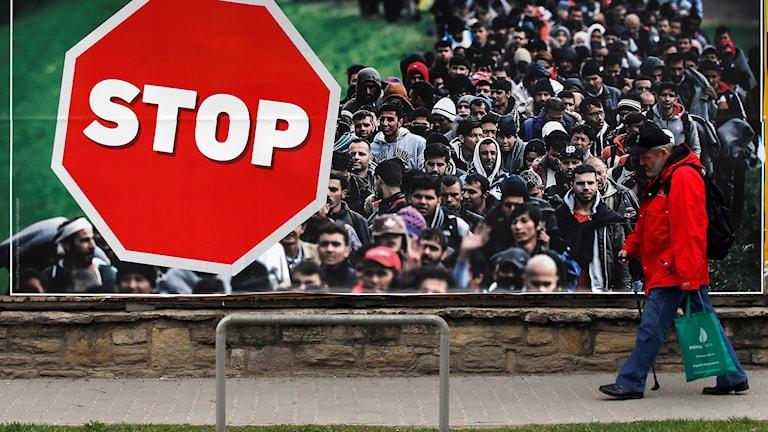Kampanjaffisch mot invandring i Ungern.