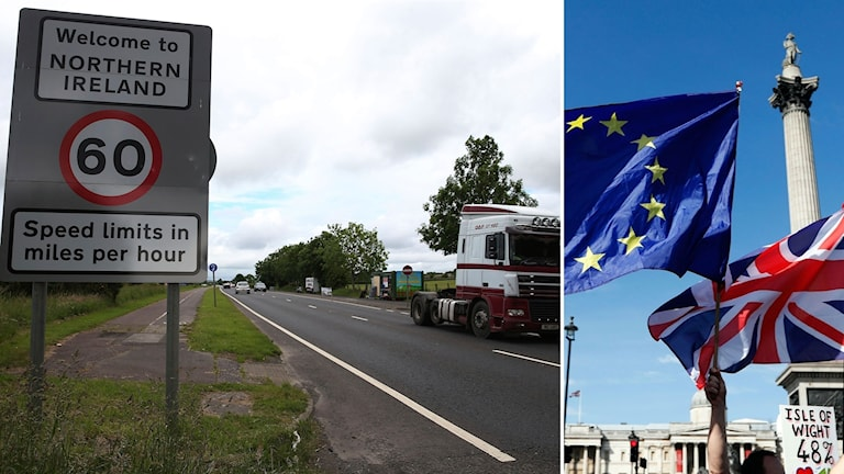 Vägskylt och lastbil, EU- och Storbritannien flagga