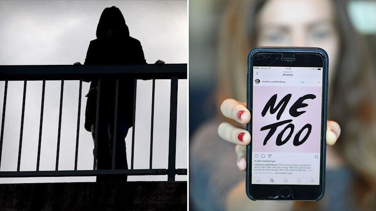 En bild på en anonym kvinna och en bild på Me-too.