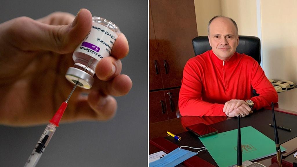 Bildsplit med spruta med vaccin och man med röd tröja vid ett skrivbord