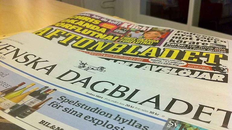 Aftonbladet och Svenska Dagbladet fredagen den 30 september 2011. Foto: Malin Askner/Sveriges Radio.