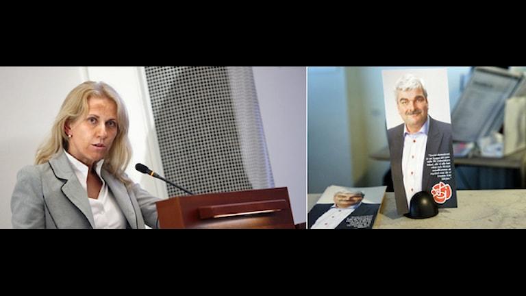 Montage av Johanna Graf, socialdemokratiskt oppositionsråd i Solna och en reklambroschyr för Socialdemokraterna och Håkan Juholt. Foto: Scanpix.
