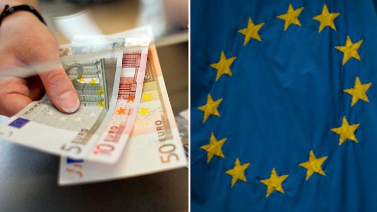 Eurosedlar och en EU-flagga. Foto: Scanpix Montage: Sveriges Radio