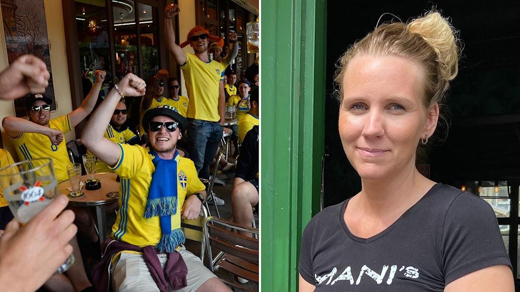 Fotbollsfans på krog och Sofie Nilsson, krögare i Hudiksvall.