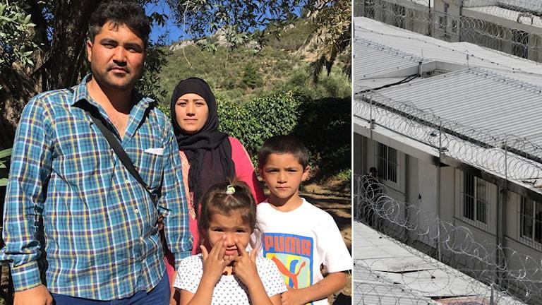 Delad bild: Afghansk familj med två barn, flyktingläger med taggtråd på taket till baracker.