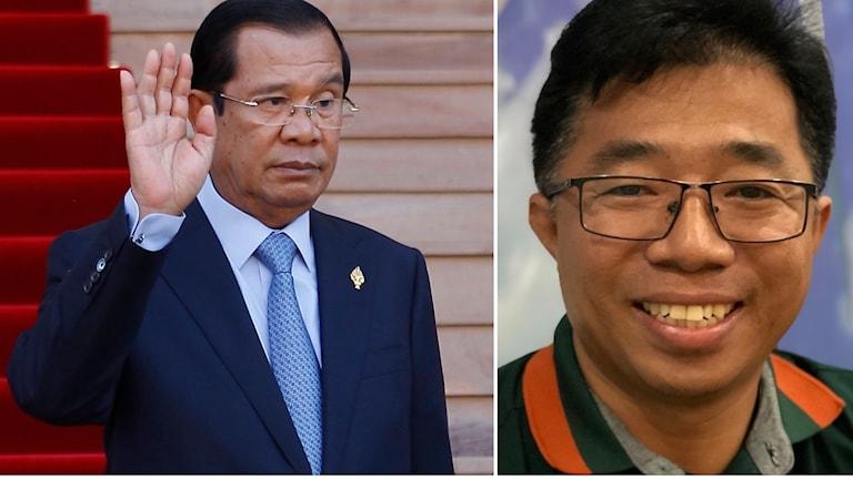 Kambodjas premiärminister Hun Sen och Nop Vy som är journalist i Phnom Penh.