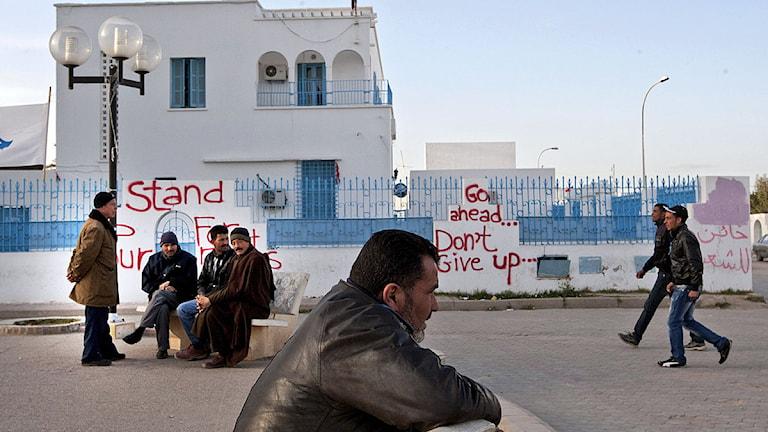 Invånare i Sidi Bouzid. Foto:Giorgos Moutafis/Scanpix.