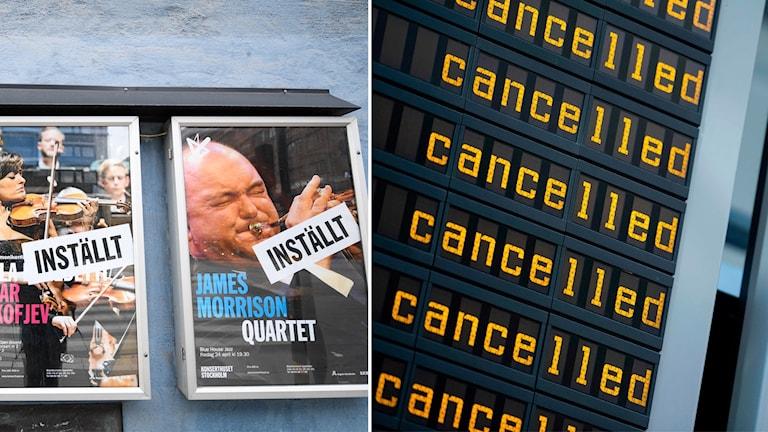 Bildsplit på affischer på inställda konserter och inställda flyg på en skärm.
