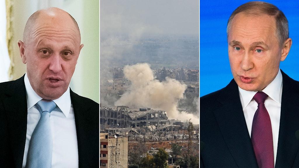 Tredelad bild: Man med blå slips, Bombat hus som ryker, Rysslands president.