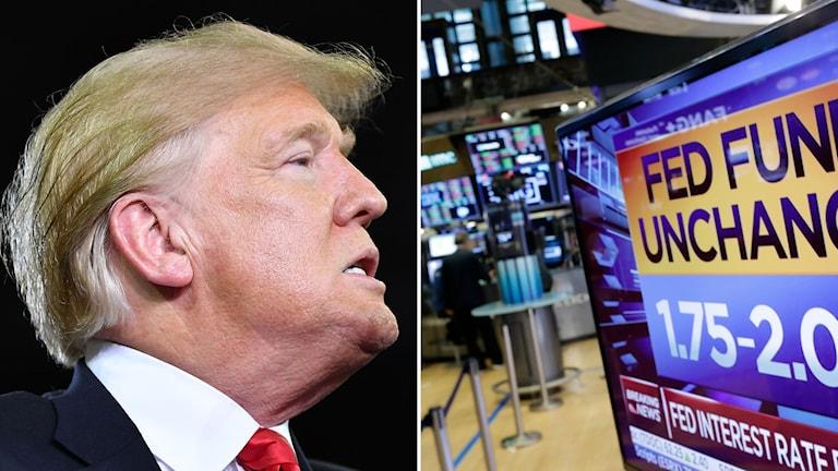 Donald Trump och en bild på börsen