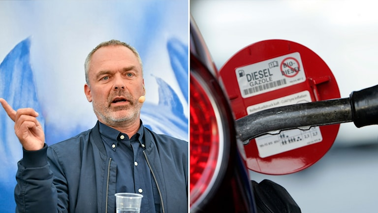 Split picture: Man with a microphone, pointing. Diesel fuel.