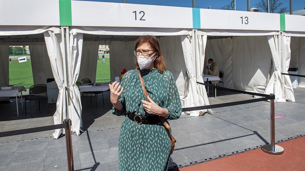 Anna Starkbrink Region Stockholm vid vaccinstation