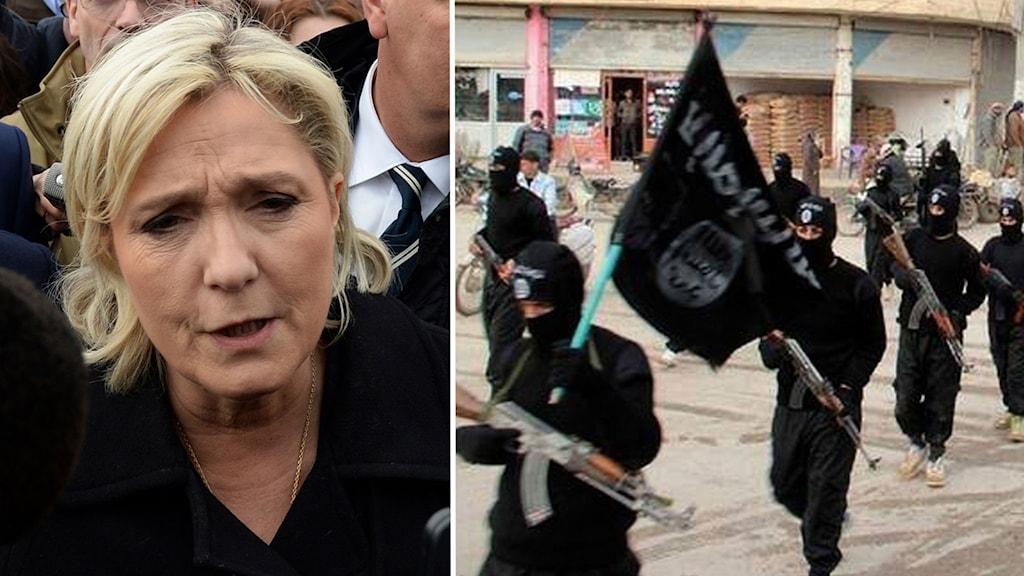 Delad bild: Marine Le Pen och IS-krigare.