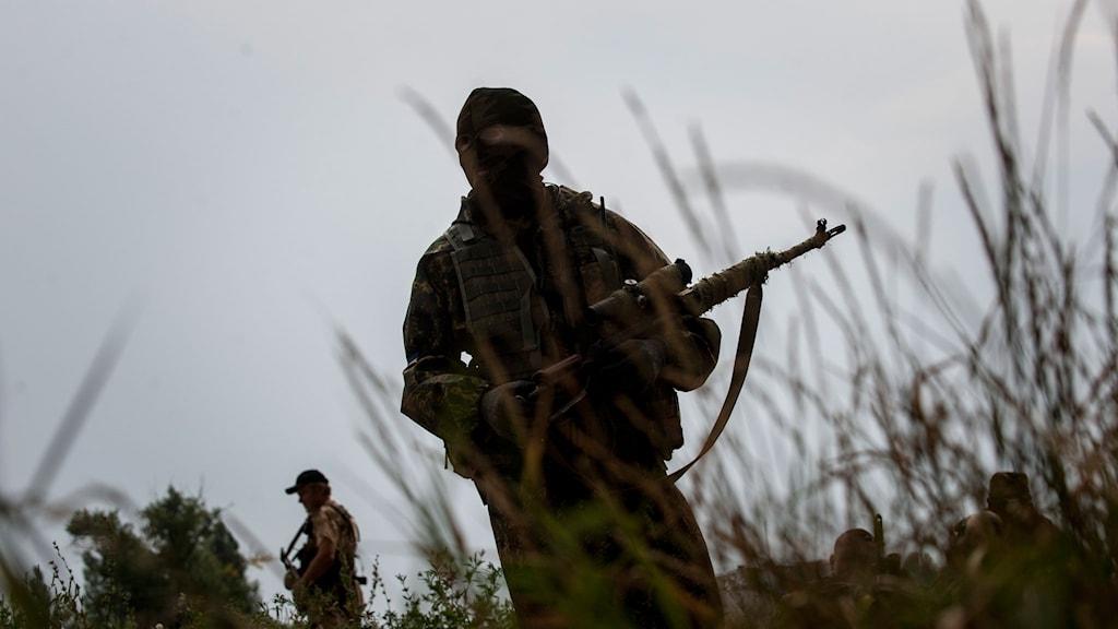 siluett av soldat med gevär i högt gräs