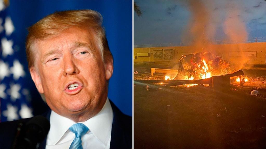 Till vänster: USA:s president Donald Trump. Till höger: attacken mot Qassem Soleimani vid Bagdads flygplats.