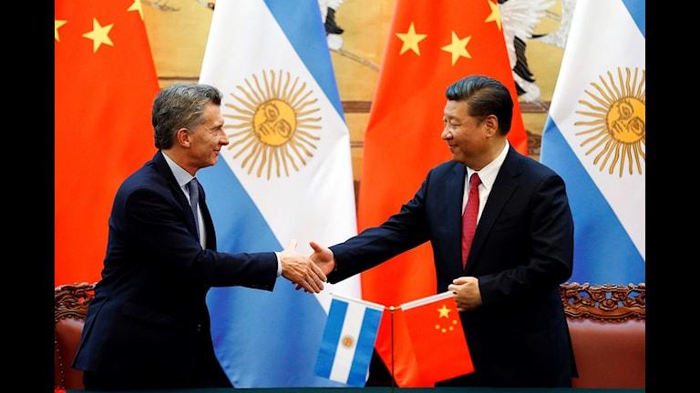Kinas president Xi Jinping och Argentinas president Mauricio Macri