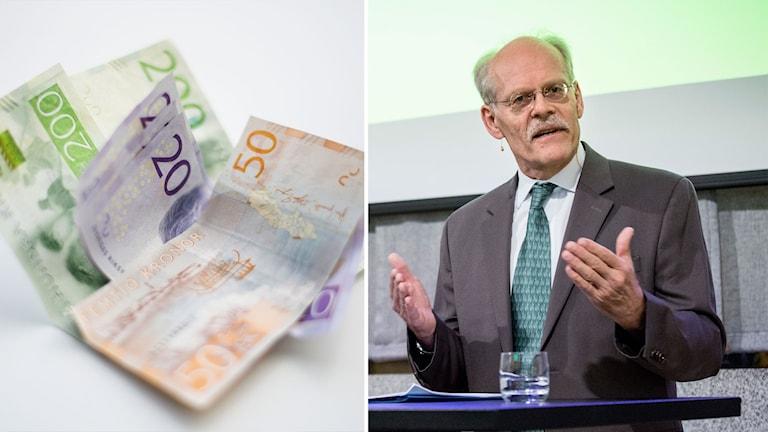 Bildmontage av riksbankschefen Stefan Ingves och en hög med sedlar.