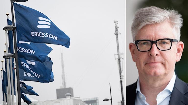 Ericssonflaggor och Börje Ekholm, vd för Ericsson.