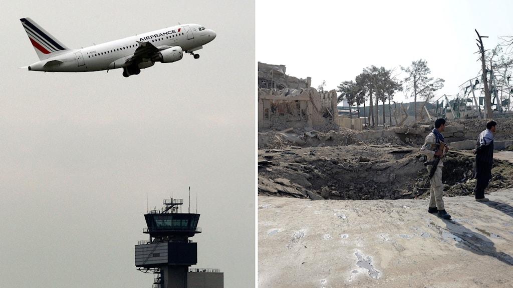 Kollage med ett flygplan som lyfter och platsen för en explosion vid det tyska konsulatet i Mazar-i-Sharif.