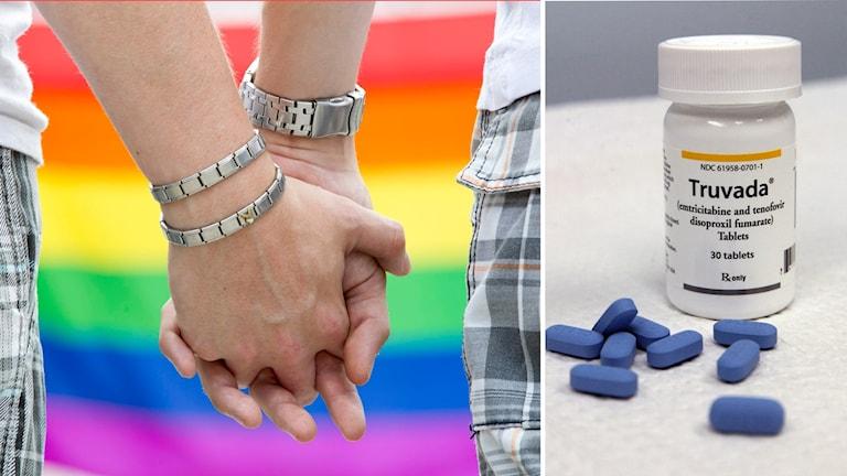 Män som håller hand, medicinburk.