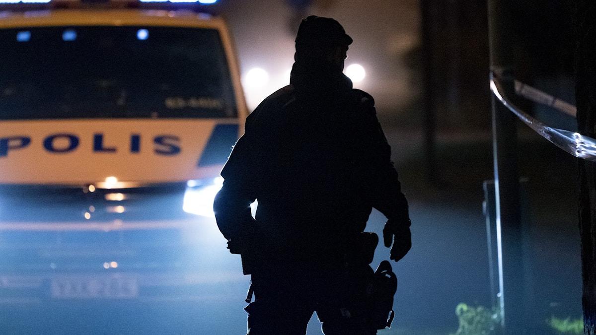 Genrebild med polis och polisbil
