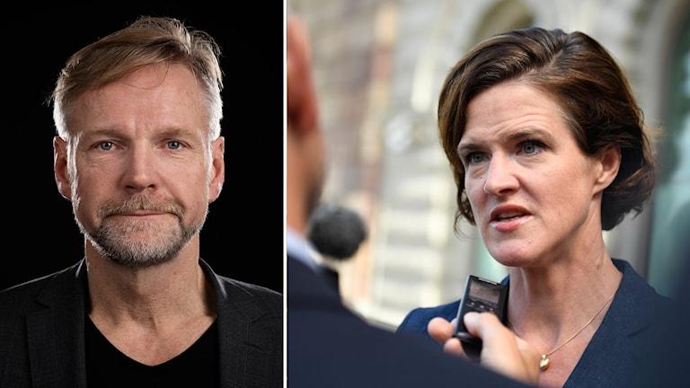 En man och en kvinna som intervjuas.
