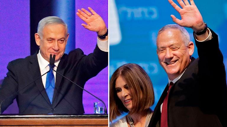 Premiärminister Benjamin Netanyahu och oppositionsledaren Benny Gantz