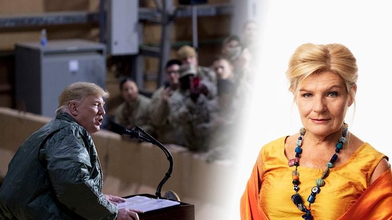 Bildkollage med Donald Trump och Cecilia Uddén.