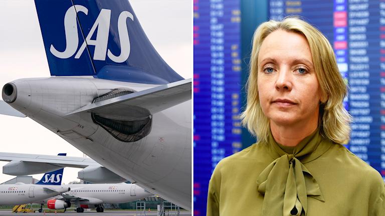 Ett SAS-plan och Karin Nyman, kommunikationsdirektör på SAS.
