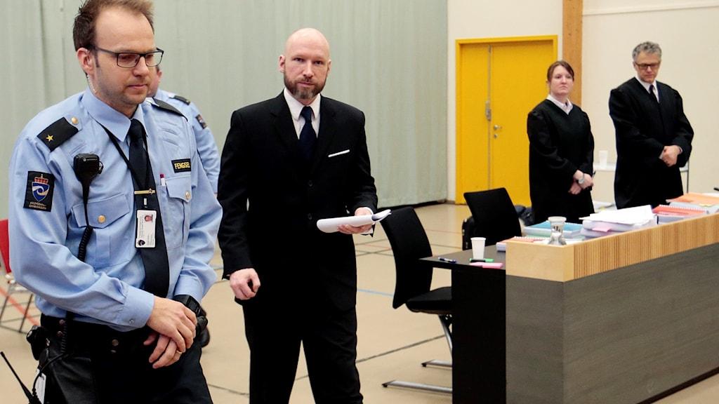 Breivik i rättssalen. Foto: Lise Åserud/TT.
