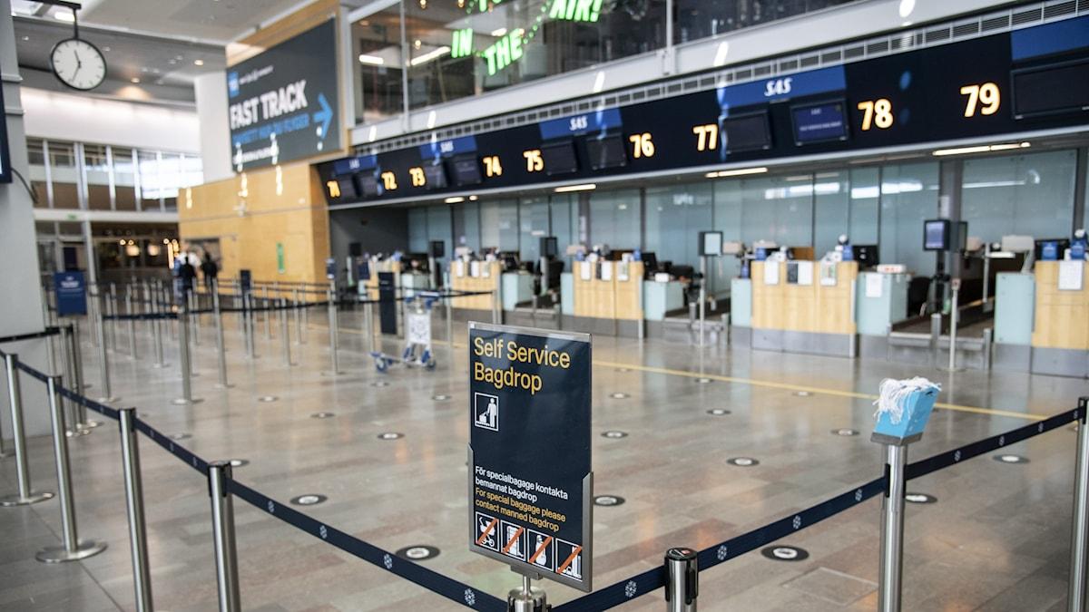 Ett tomt och ödsligt Arlanda flygplats