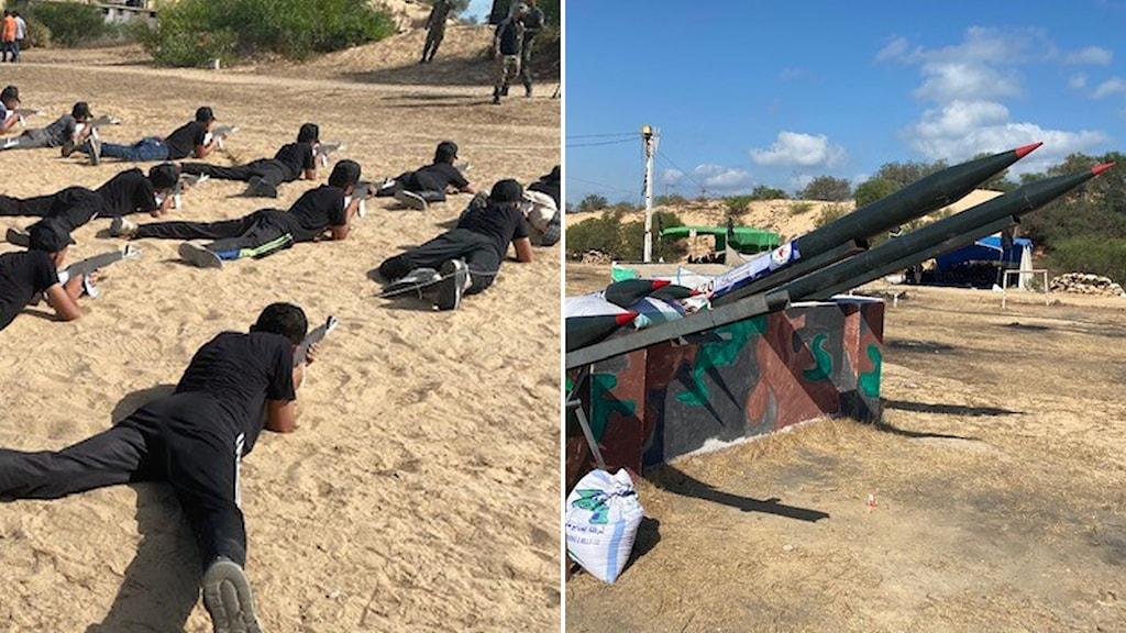 Unga män övar som soldater och en missil