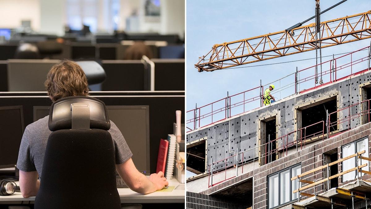 Delad bild: man på kontor, byggarbetsplats.