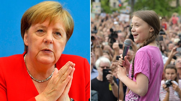 Angela Merkel under sin traditionella sommarpresskonferens (t.v) och Greta Thunberg som talade under klimatprotesten Fridays for future (t.h).
