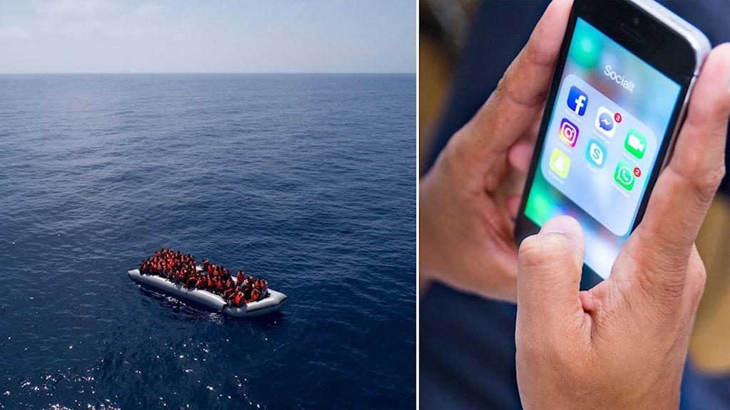 Flyktingar i båt på Medelhavet och person med mobiltelefon.