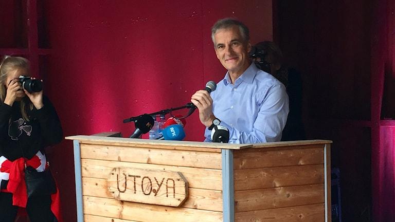 Norska Arbeiderpartiets ledare Jonas Gahr Støre talade vid AUF:s pågående sommarläger på Utøya 2017.