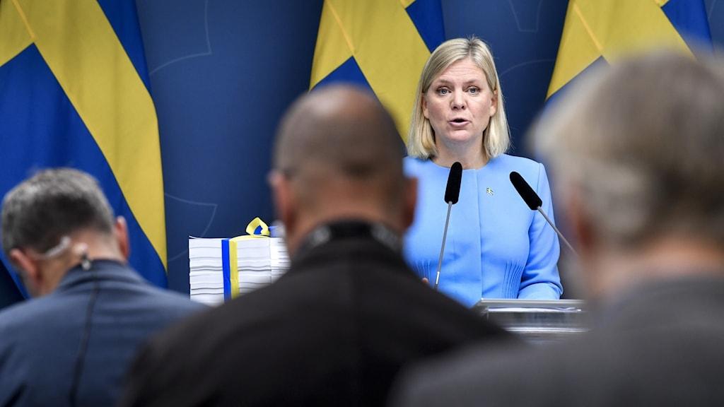 Finansminister Magdalena presenterar budgeten