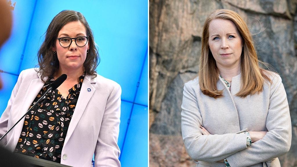 Delad bild: Två olika kvinnor.