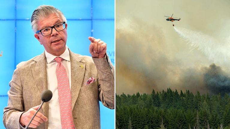 Tvådelad bild: Man i kostym och brandsläckningshelikopter över skogsbrand.