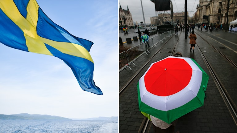 Delad bild: Svensk flagga i solsken, paraply med Ungerns färger i regn.