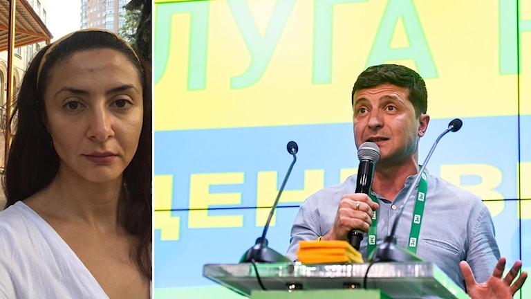 Ekots Lubna El-Shanti (t.v) och Volodymyr Zelenskyj (t.h).