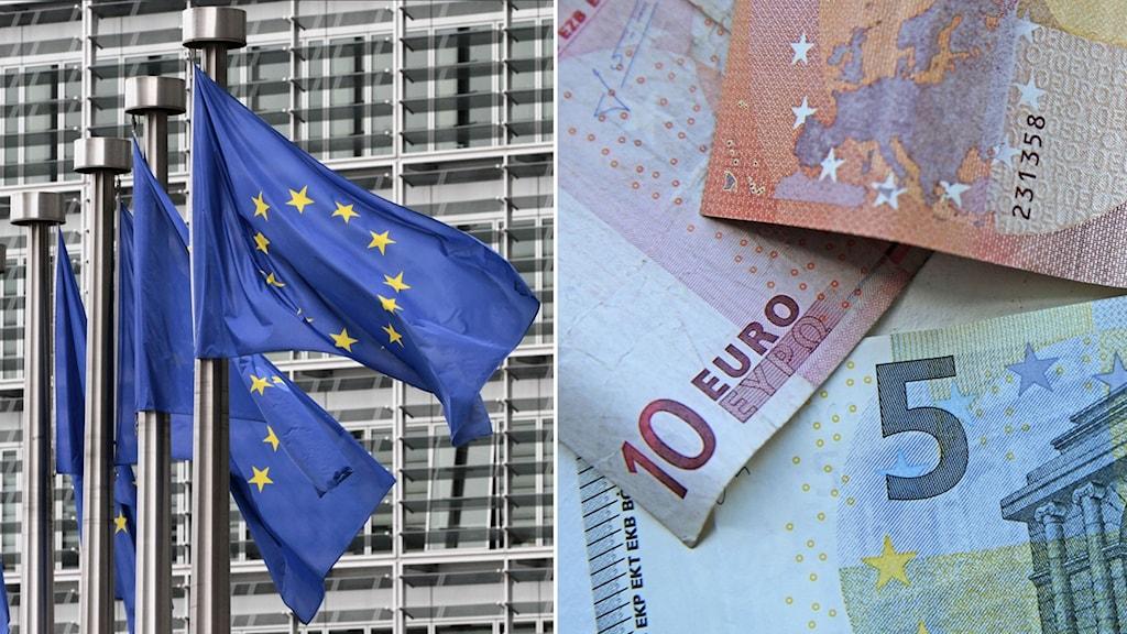 EU-flaggor till vänster. Eurosedlar till höger.