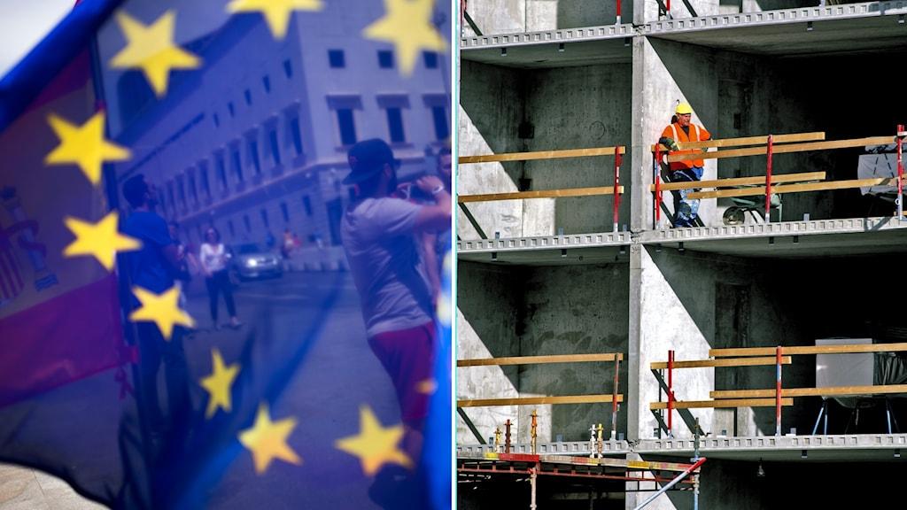EU-flagga och byggnadsarbetare.