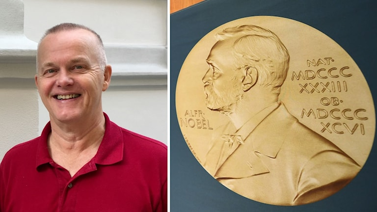 Delad bild: glad man i röd tröja, plakett på Alfred Nobel.