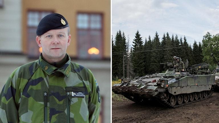 Mikael Frisell, chef för Militärregion Nord och en bärgningsbandvagn 90.
