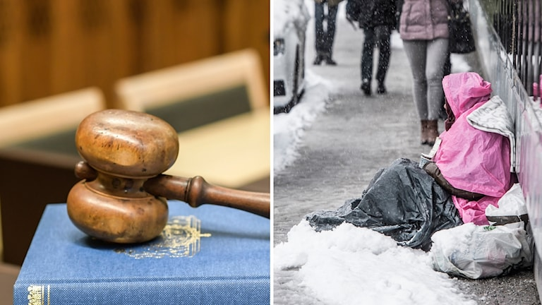 En domarklubba och en person som ber om pengar på en snöig gata.