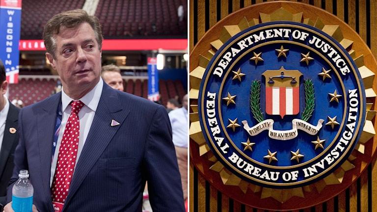 Man med kostym och FBI-emblem